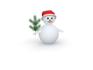 3D snowman with Santa Claus hat and pine branch on white