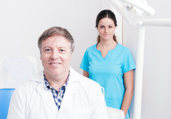 Dental Clinic. Portrait of a dentist and her assistant