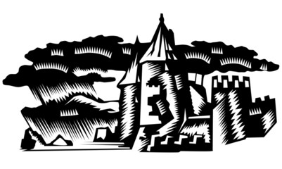 Fortress illustration in clouds