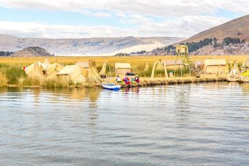 Traditional reed boat lake Titicaca,Peru,Puno,Uros,South America