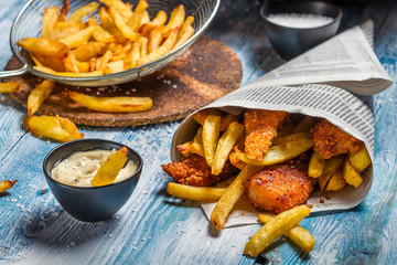 Homemade Fish & Chips and sauce
