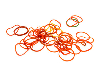 Group of Elastic Bands on the White Background.
