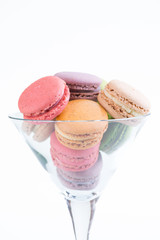 Macaroons in a Martini glass close-up