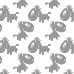 Seamless vector pattern with cute cartoon horses