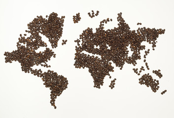 world map made from coffee bean