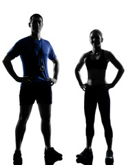 Wall Mural - couple woman man exercising workout aerobic instructor