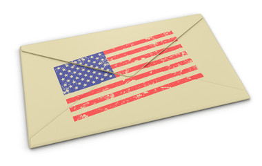 letter USA flag (clipping path included)