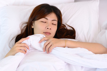 Asian woman teenager sleeping and relaxation