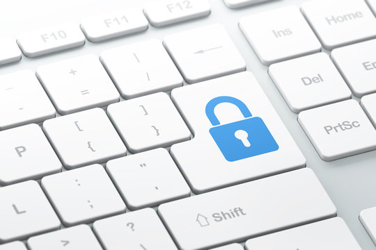 Privacy concept: Closed Padlock on computer keyboard background