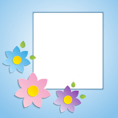 Beautiful spring flowers blue background -vector