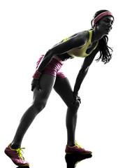 Wall Mural - woman runner running pain muscle cramp  silhouette