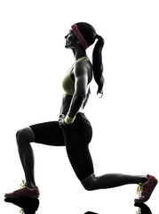 Wall Mural - woman exercising fitness workout  lunges crouching silhouette