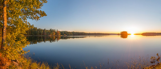 Panorama of a sunset on a lake