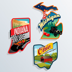 retro US State illustrations Indiana, Ohio, Michigan