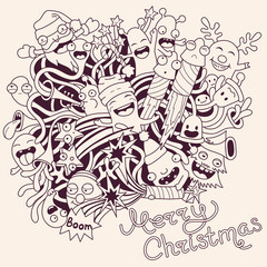 Wall Mural - Christmas background with cute crazy monsters