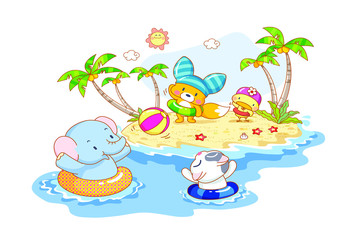 cute animals cartoon are playing on the beach