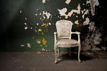 Elegant chair in grunge environment