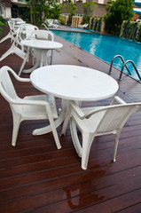 chairs and tables next to a swimming pool