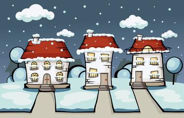 three winter vector house