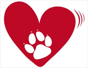 Herz mit Hundepfote - Vektor