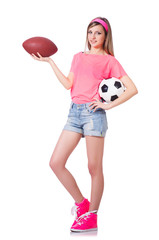 Woman with football on white