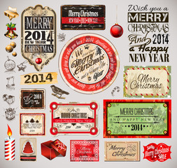 Fotobehang Vintage Poster Christmas 2014 Vintage labels and typo collection
