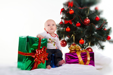 baby with xmas decoration