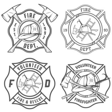 Set of fire department emblems and badges