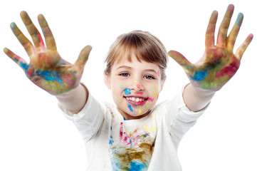 Girl showing colorful hands to camera