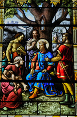 Poster Superheroes stained glass window in the church of Houlgate in Normandy