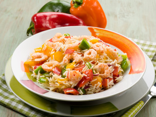 basmati rice with capsicum and shrimp