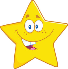 Smiling Star Cartoon Mascot Character