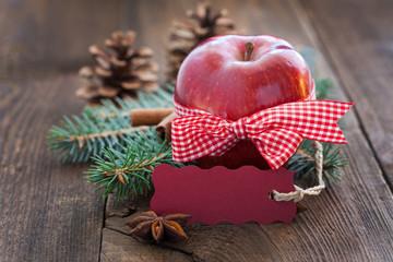 Apfel mit Schild