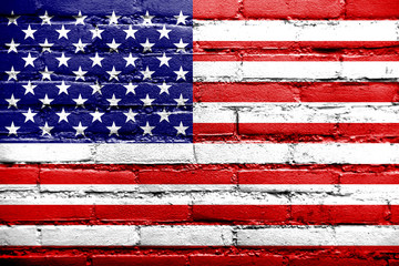USA Flag painted on old brick wall