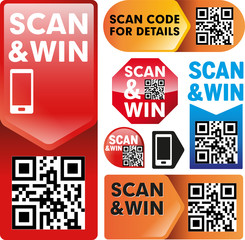 Scan&Win QR-Code Vector Design Elements
