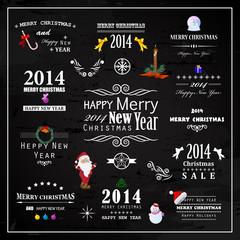 Christmas Design Elements Set - Isolated On Black