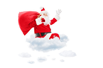 Santa Claus seated on cloud holding a bag and gesturing