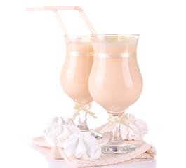 Tasty yogurt with marshmallows, isolated on white