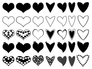 Set of beautiful hearts illustrated on white background