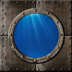 Wall Mural - rusty metal porthole underwater