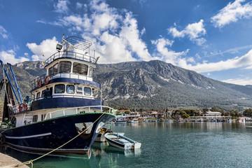 Small fishing boats in Akyaka harbor, Turkey