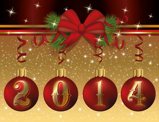 Happy New 2014 Year greeting card, vector illustration