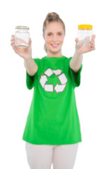 Happy environmental activist wearing recycling tshirt holding ja