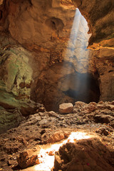 Sunbeam in the cave, Petchburi province of Thailand