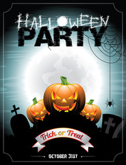 Vector illustration on a Halloween Party theme.