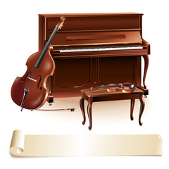 Classical piano, cello and a stool, isolated on white background