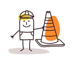 Construction Worker Man With a Cone Sign