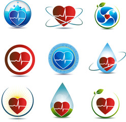 Heart and cardiogram symbol collection