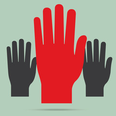 popular raise red color right hand up isolated vector