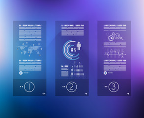 Infographic design template with glass surface.